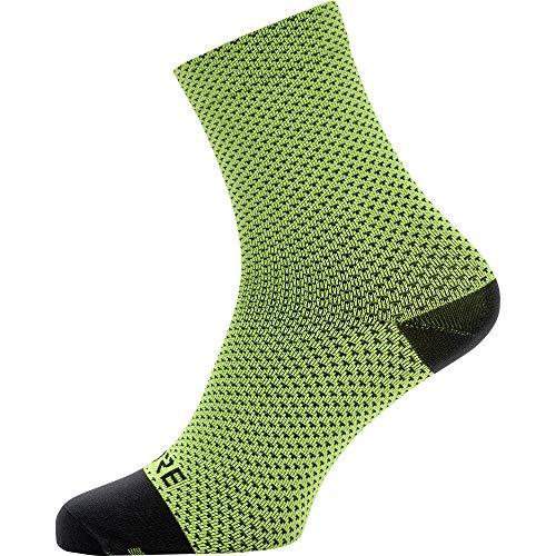 GORE WEAR Unisex C3 Dot Socken mittellang, Neon Yellow/Black, M-L EU