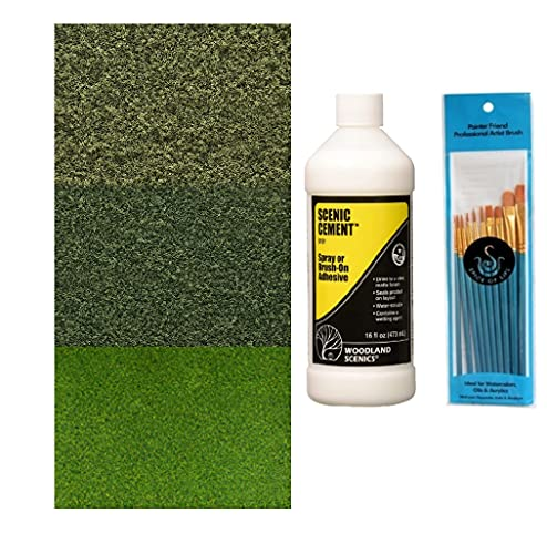 Woodland Scenics Fine Turf Burnt Grass, Fine Turf Green, Blended Turf Green, Scenic Cement, and Spice of Life Paintbrush Set (Pack of 5)