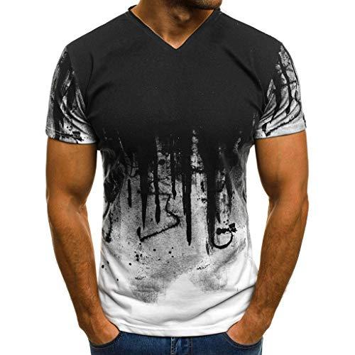 riou Camiseta de Manga Corta para Hombre con Cuello en v Originales con Estampado Degradado Delgado Primavera y Verano Deportes Blusa Tops T-Shirt