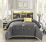 Grand Linen 7 Piece Modern Oversize Grey with Yellow Sunflower Embroidered Comforter Set Queen Size Bedding