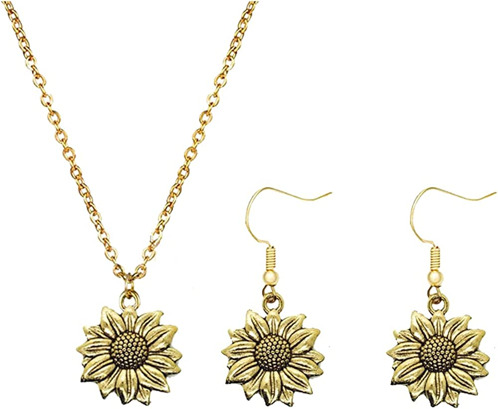 Modpide Antique Gold Sunflower Dangle Earrings Sunflower Necklace Jewelry Set