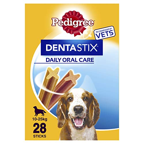 PEDIGREE 12421/236 Hundesnacks Hundeleckerli Dentastix Medium Tägliche Zahnpflege für mittelgroße Hunde 10-25kg, 28 Sticks (1 x 28 Sticks)