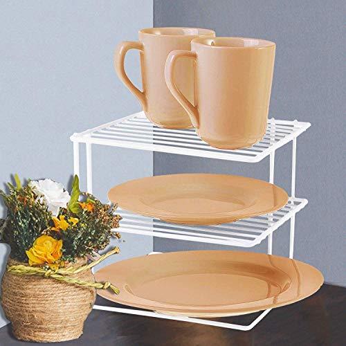 FunkyBuys, scaffale angolare a 3 ripiani, in metallo bianco, per piatti da cucina, salvaspazio, 25 x 26 x 25 cm, SI-K1030