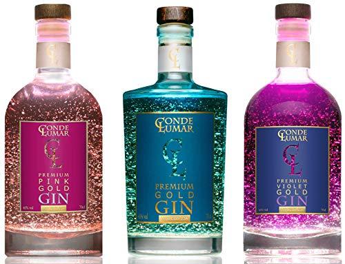 Pack 3 Gins con Oro Para Regalar - Premium Liqueur Gold 23K: Pink Violet & Premium - Gin Tonic Artesanal 15 Botánicos 5 Destilaciones - Oro con Certificado TÜV Rheinland - Sin Caja de Rega