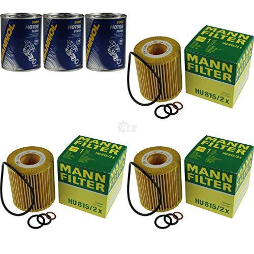3x Original MANN Ölfilter HU 815/2 x + 3x SCT Motor Flush Motorspülung