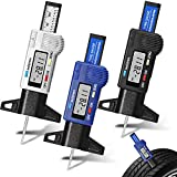 Frienda 3 Pieces Tire Tread Depth Gauge Tool Digital Tire Tread Depth Gauge LCD Display Tread Checker with Inch and MM Conversion for Motorcycle, Car, Truck and Bus, Silver, Black, Blue