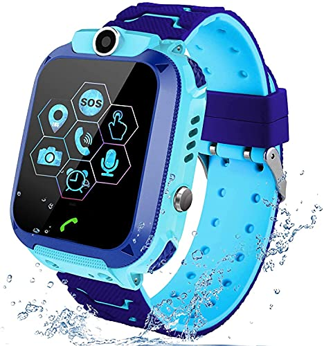 Sanyipace for Kids Touch Screen Smartwatch with LBS Tracker SOS Two Way Call Voice Chat (Blue)