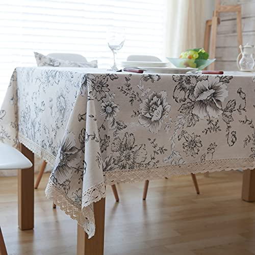 Mantel de algodón con Estampado Floral Mantel de Borde de Encaje Rectangular de Lino rústico para Comedor Cubierta Protectora de Mesa de Cocina Mantel 140x240cm Igual Que en la Foto