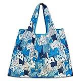 折りたたみ買い物袋 防水素材 (ブルー 猫)