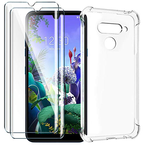 HYMY Funda para LG Q60 + 2 x Cristal Templado - Transparente Tapa TPU Silicona [Refuerzo de Cuatro Esquinas, Absorción de Golpes] Caso Carcasa para LG Q60 (6.26