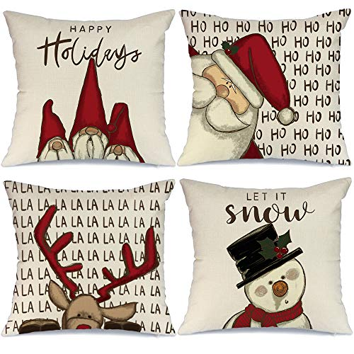 AENEY Christmas Decorations Pillow Covers 18x18 Set of 4, Gnome Santa Deer Snowman Rustic Winter Holiday Throw Pillows Farmhouse Christmas Decor for Home, Xmas Cushion Cases for Couch A313-18