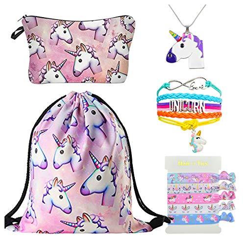 DRESHOW Unicorn Gifts for Girls Mochila con cordón/Maquillaje/Colgante Collar/Pulsera Pulsera / 5...