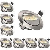 KSIPZE LED Einbaustrahler 6W 500LM Warmweiß 3000K 230V Dimmbar Einbaustrahler LED Spots Schwenkbar Deckenspot Kein Flackern Ersetzt 50W Halogenlampe (8 Stück)