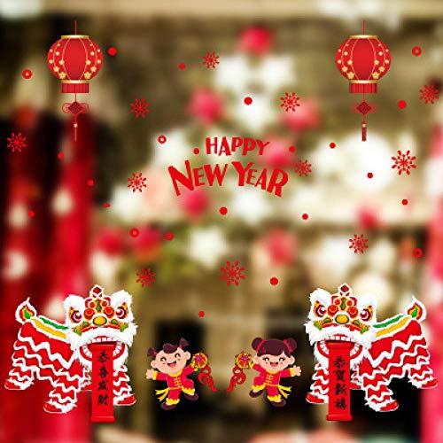 Kerstmis Kerstmis Muursticker, Creatieve Vrolijke Kerstmis Venster Rode Letter Lantaarn Kind Verwijderbare Diy Vinyl Art Wall Window Deur Huisdecoratie Decoratie Sticker