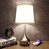 Touch Control Table Lamp 3 Way Dimmable Bedside Lamp with USB A & USB C Ports, Nightstand Lamp with White Lampshade Modern Desk Lamp Simple Bedroom Lamp for Living Room Bedroom, with Dimmable Bulb