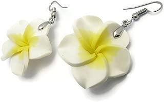 CHADADA Jewelry Hawaiian Fimo Plumeria Flower Dangle Earrings Handmade for Women, 30 mm