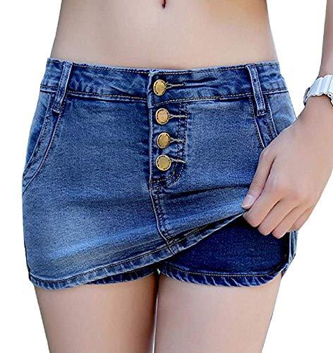 Lovelegis Jeans-Minirock - Shorts - Shorts - Hosen - Stretch - Nieten - Jeans - Sexy - Knöpfe - Geschenkidee - Frau - Mädchen - dunkelblaue Farbe - Größe m