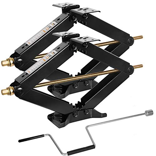"WEIZE Camper RV Trailer Stabilizer Leveling Scissor Jacks with Handle -24""- 7500lbs - Set of 2"