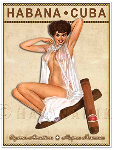 Cuban Cigar Art Print - Vintage Style Pinup Girl in Lingerie Art Print Poster - Measures 18' high x 24' Wide (458mm high x 610mm Wide)