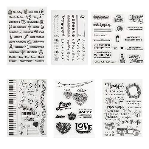 Kesote 6 Hojas Sellos de Silicona Transparente para DIY Manualidades Scrapbooking Álbumes de Recortes Tarjetas