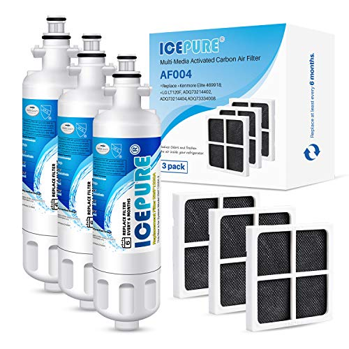 ICEPURE ADQ36006101 9690 Water Filter Replacement for LG LT700P, Kenmore Elite 46-9690 ADQ36006102, CLCH106, RWF1052 LFX28968ST LFXS29626S LFXS30766S and ICEPURE LT120F Fresh Air Filte, 3PACK