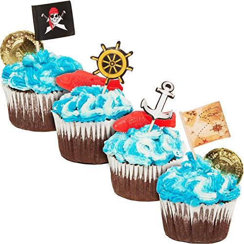 Juvale Decorazioni piratesche per cupcake, per feste a tema piratesco, stuzzicadenti con bandiera dei pirati, mappa del tesoro, ancora e timone, circa 3 x 7,6 cm, confezione da 200 decorazioni Multi