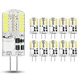 10 pezzi Lampadina LED G4 3.5W, Bianco Freddo 6000K, AC/DC 12V, Equivalente a 30W Lampada Alogena, 350LM, Angolo di visione 360°.