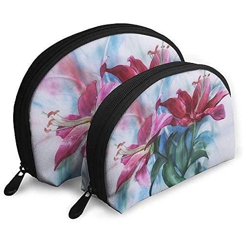 Acuarela Lily Pintura Flor Bolsas portátiles Bolsa de Maquillaje Bolsa de Aseo Bolsas de Viaje portátiles multifunción con Cremallera