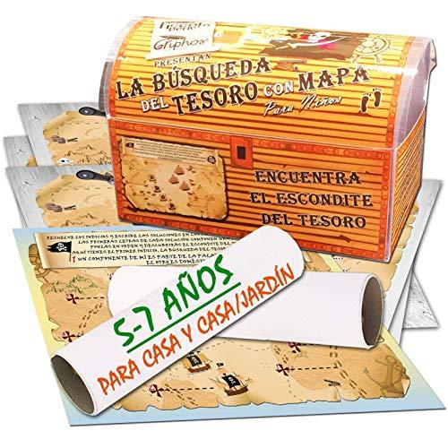 Búsqueda del tesoro con mapa para casa y casa/jardín – 5-7 años - para fiestas de cumpleaños – juegos para niños