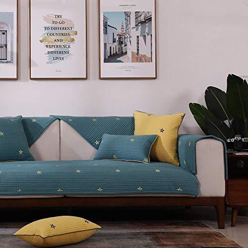 Gartenhof Ecksofa couchgarnitur,überzug für Sessel,Universal Star Couch Cover Throw,Rutschfester Stoff Sofa Protector Cover,Baumwolle Bestickt Sofa Slipcover-Grün_45 * 45cm Kissenbezug