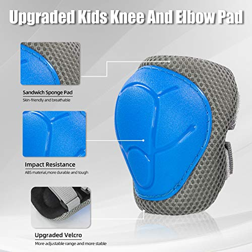 LANOVAGEAR Children Knee Elbow Pads, Kids Protective Gear Set 3-8 Years, Kids Toddler Knee Elbow Wrist Pads for Skateboard Scooter Bike Cycling BMX Skating Rollerblading (Blue, S)