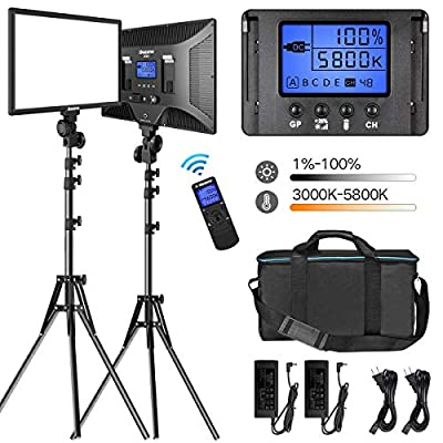 "LED Video Lighting Kit with Wireless Remote, Dazzne D50(2 Packs) Dimmable Bi-Color 15.4"" LED Panel Light Stand, 45W 3000K-5800K CRI>96 Studio Light for Video Shooting Live Stream Photography YouTube"