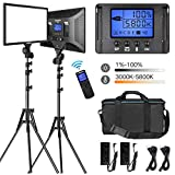 "LED Video Lighting Kit with Wireless Remote, Dazzne D50(2 Packs) Dimmable Bi-Color 15.4"" LED Panel Light Stand, 45W 3000K-5800K CRI96 Studio Light for Video Shooting Live Stream Photography YouTube"