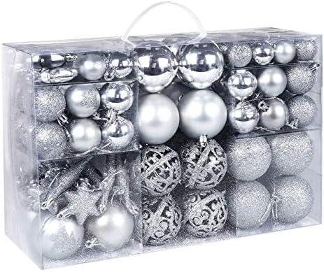 ilauke Christmas Balls Ornament Set 116Pcs Shatterproof Sliver Pink Classic Xmas Tree Ornament product image