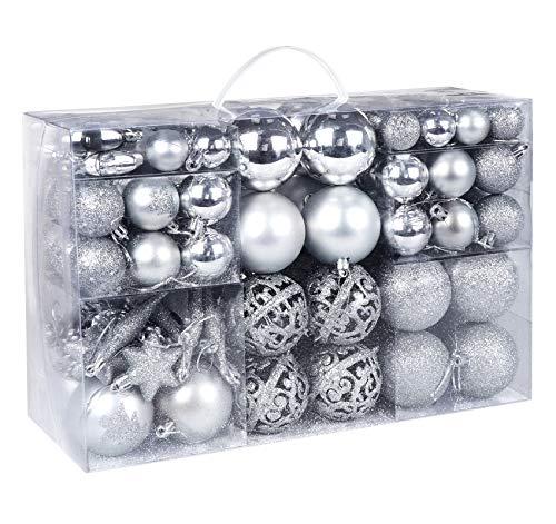 Mocraft Weihnachtskugeln 115er Set Christbaumkugeln Silber Weihnacht Ornamente, Set inkl. Baumspitze Kiefernzapfen Stern Dekoration gemalte Kugel ∅ 30/40/60mm