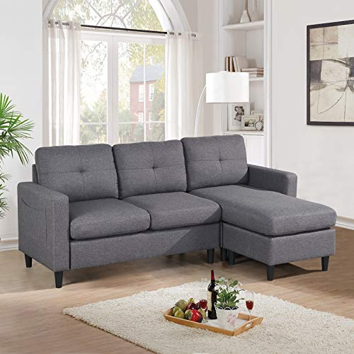 Reversible Sectional, Sectional Couches & Sofas for Living Room for Small Space, L-Shape Sofa Couch with Reversible Chaise and Ottoman, 3 Seater Couch Linen Fabric for Apartment