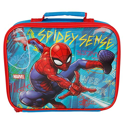 Bolsa de almuerzo rectangular para niños de Spiderman Grafitti, 26 x 21 x 7 cm, color azul