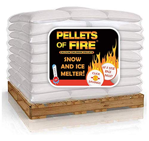 PELLETS OF FIRE Calcium Chloride Ice Melt - 2400 Pounds Pallet - 48 x 50 Bags Bulk Supply - Best Heat Generating Rock Salt for Snow and Ice – Concrete Safe - Industrial Grade - Works in -25° F