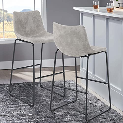 Sophia & William Bar Stools Set of 2 Bar Height, 30' Bar Chairs with Back, Leathaire Upholstered...