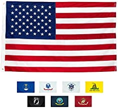 Front Line Flags American Flag 5x8' | 100% Guarantee | Heavy Duty | Embroidered Stars | Sewn Stripes | 210D Oxford Nylon | Quadruple Stitched Fly End | Brass Grommets for Easy Display | U.S. Flag
