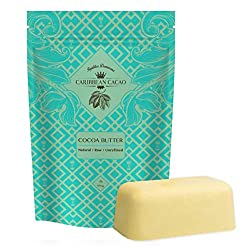 Caribbean Cacao Unrefined Cocoa Butter - 1 LB Rich Body Butter Bar for Stretch Marks, Dry Skin, Acne, and Sensitive Skin - From our exclusive source in the Dominican Republic - Wrap Yourself in Creamy Luxury