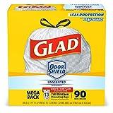 Glad OdorShieldTall Kitchen Drawstring Trash Bags -13 Gallon White Trash Bag - 90 Count (Packaging May Vary)