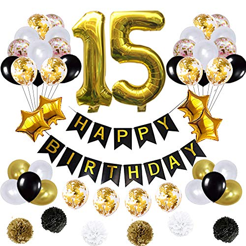 15 Birthday Decorations Ballons, Happy Birthday Banner/pom pom Flowers/Gold Mylar Balloons/Latex Balloons/Number 15 Foil Ballons Gold