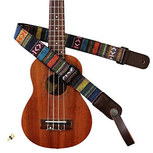 MUSIC FIRST Classic Country style Soft Cotton & Genuine Leather Ukulele Strap Ukulele Shoulder Strap Version 2.0 With a MUSIC FIRST Genuine Leather Strap Locker