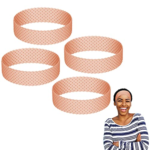 4 Pieces Wig Grip Headbands for Women, Non Slip Silicone Wig Grip Band Wig Fix Elastic Band for Wigs, Adjustable Comfortable Wig Band Grip for Lace Front Hair Band for Sports and Yoga (Dark Brown)