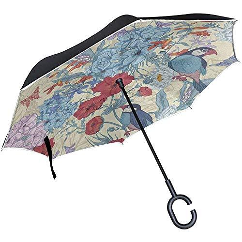 Paraguas Inverso Vintage Roma Italia Coche Rojo Paisaje Urbano Paraguas Invertido Reversible para Golf Coche Viaje Lluvia Al Aire Libre
