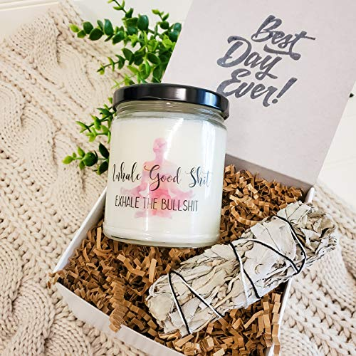 Sage Kit - Lavender Soy Candle - Housewarming Gift Box Healing, Smudging, Cleansing, Purifying, Stress Relief