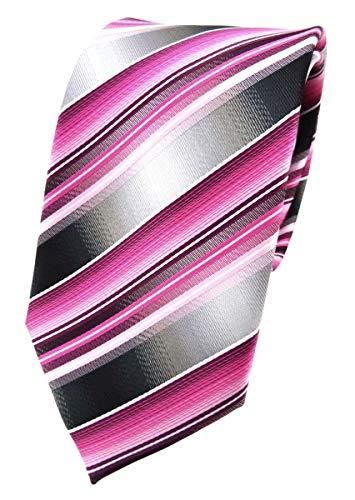 TigerTie diseñador corbata de seda - rosa pink magenta gris plata rayas Tie