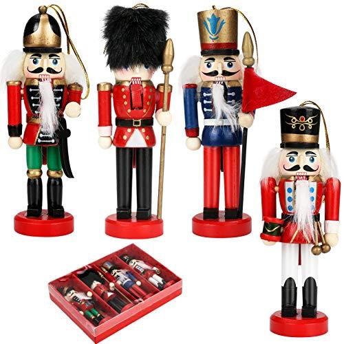 LINGSFIRE Weihnachten Nussknacker Figur Weihnachtsschmuck, Handbemalter Deko-Nussknacker Soldat Holz Soldat Nussknacker Puppe Ornamente Weihnachtsanhänger für Kinderzimmer Dekoration