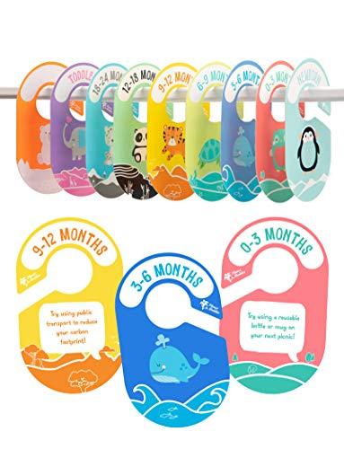 Planet Buddies Baby Kleiderschrank Organizer, Kinder Größentrenner Kleiderstange Baby/Kleinkind/Blanko, Kleiderschrank-Trenner Größen in niedlichen Designs, Umweltfreundlich, Ohne Plastik